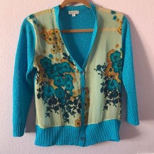 Vintage bright turquoise/mustered yellow cardigan